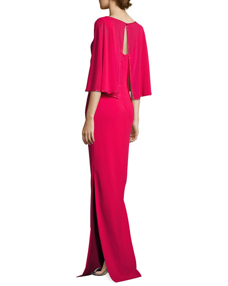 Column Gown with Georgette Cape, Dark Red