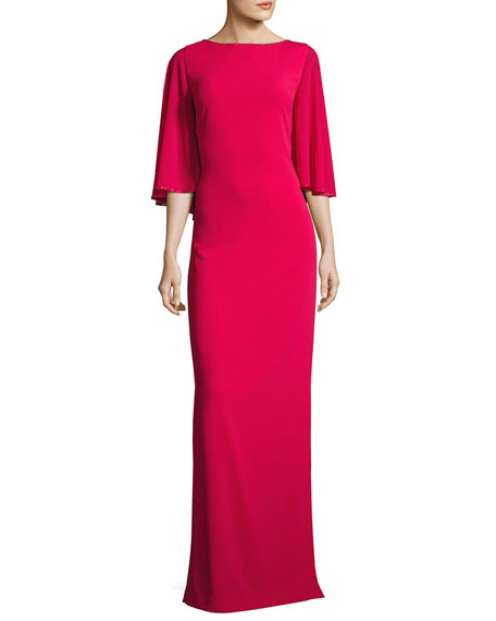 St. John Collection Column Gown with Georgette Cape,