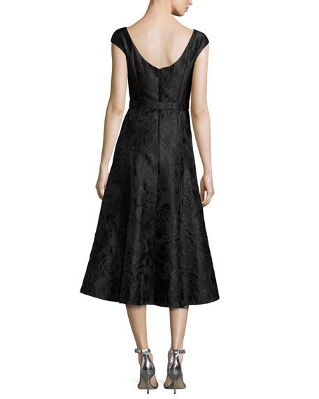 Avani Rose Jacquard Cap-Sleeve Dress, Black