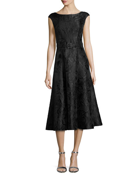St. John Collection Avani Rose Jacquard Cap-Sleeve Dress,