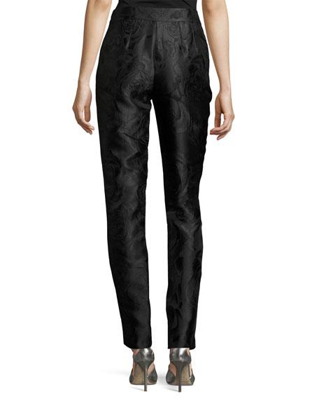Avani Rose Jacquard Slim Ankle Pants, Black