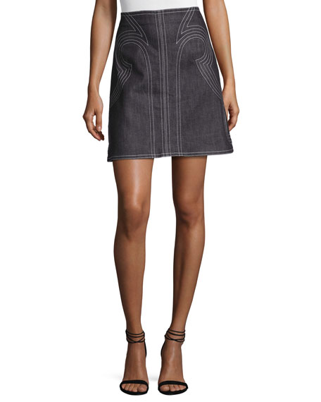 Geometric Laced Chambray Mini Skirt, Indigo