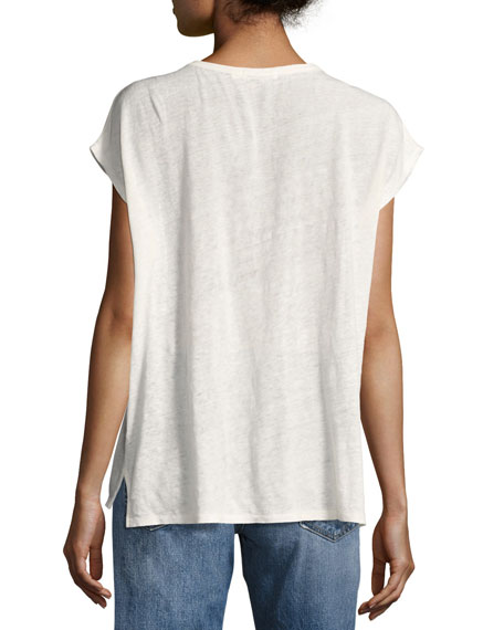 Rugby Relaxed Linen Scoop-Neck Tee