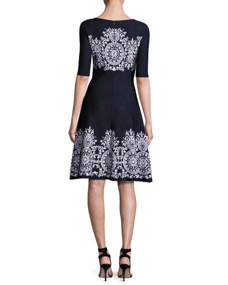 Nellore Jacquard Knit Flared Dress, Navy