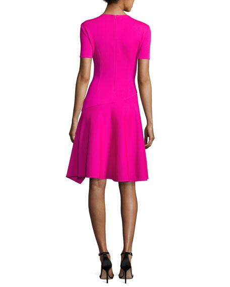 Milano Knit Handkerchief-Hem Dress, Pink