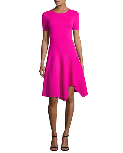 Milano Knit Handkerchief-Hem Dress, Pink