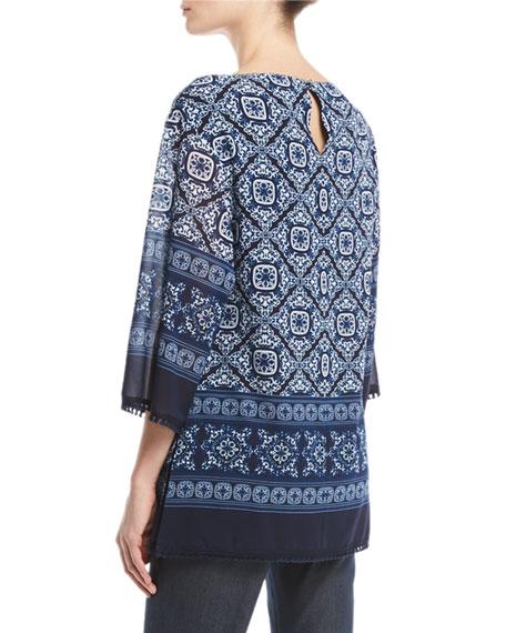 Jaipur Tile-Print 3/4-Sleeve Top, Blue/Multi