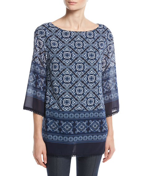 St. John Collection Jaipur Tile-Print 3/4-Sleeve Top, Blue/Multi