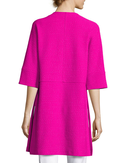 Ribbon Textured Knit Dolman Jacket, Pink