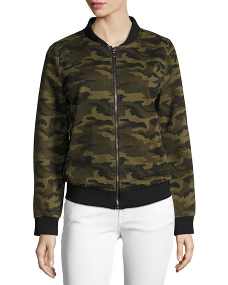 Camo Lightweight Bomber Jacket, Green Pattern