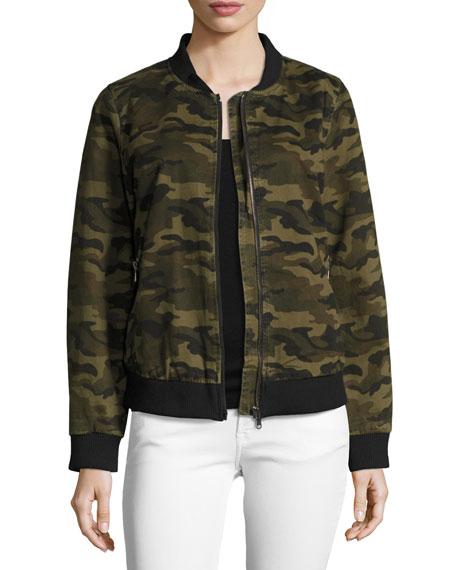 Etienne Marcel Camo Lightweight Bomber Jacket, Green Pattern