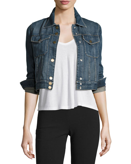 Cropped Denim Jean Jacket, Blue