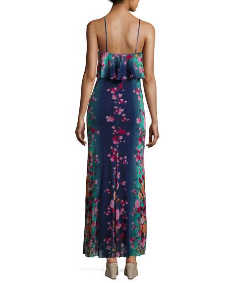 Floral-Print Tulle Ruffle Slip Dress, Blue