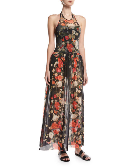 Floral Tulle Double-Slit Coverup Maxi Skirt, Black