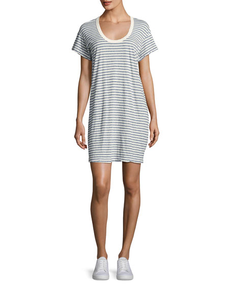 Current/Elliott The Slouchy Scoop-Neck T-Shirt Dress, Blue Stripe