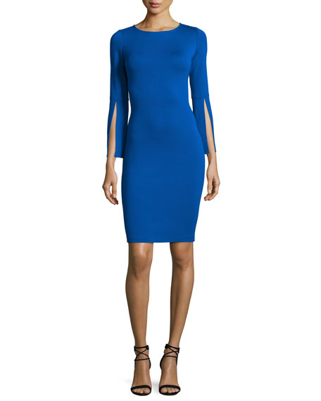 Milano Knit Split-Sleeve Dress, Blue
