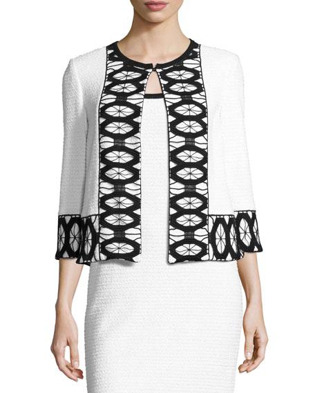 Sara Lace-Trim 3/4-Sleeve Jacket, White/Black