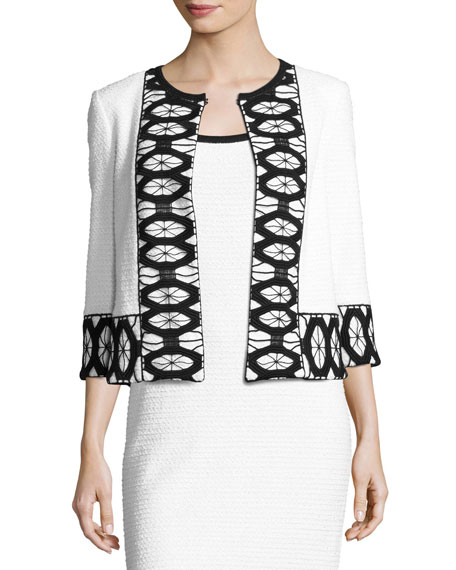 St. John Collection Sara Lace-Trim 3/4-Sleeve Jacket, White/Black