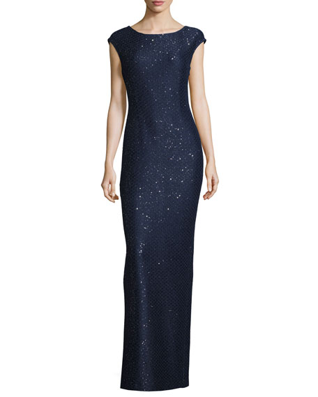 St. John Collection Hansh Sequined Knit Cap-Sleeve Gown,