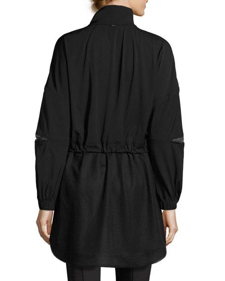 Mesh-Inset Twill Anorak Jacket, Black