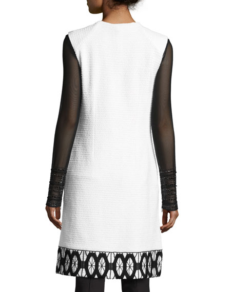 Sara Lace-Trim Knit Vest, White/Black