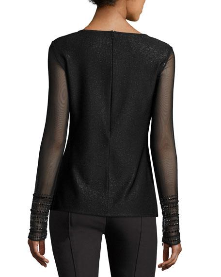 Sparkle Luxe Sculpture Knit Scoop-Neck Top, Black