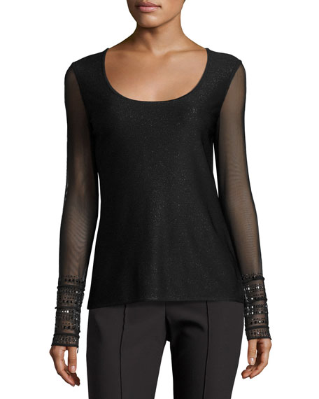 St. John Collection Sparkle Luxe Sculpture Knit Scoop-Neck