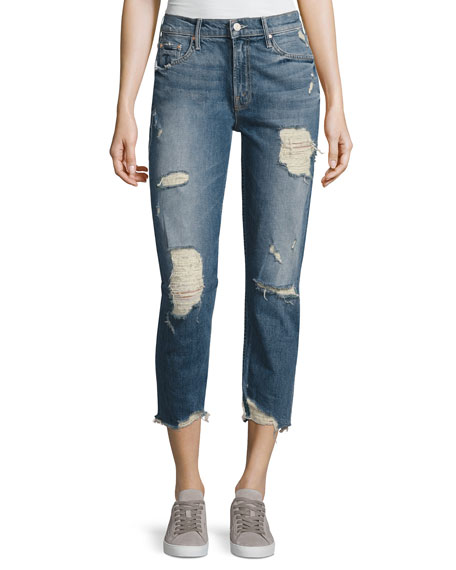Mother Denim Sinner Slashed Straight Jeans, Ice Scream/You