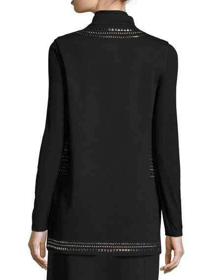 Milano Knit Mandarin-Collar Sequined Vest, Black