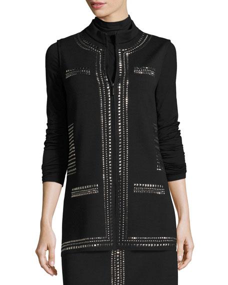 Milano Knit Mandarin-Collar Sequined Vest, Black