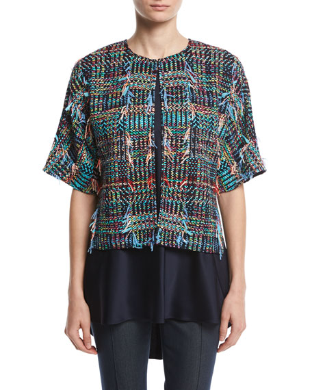 St. John Collection Dara Fringe Knit Kimono Jacket,
