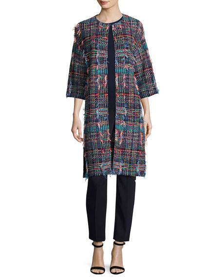 Dara Fringe Knit 3/4-Sleeve Topper Coat, Multi