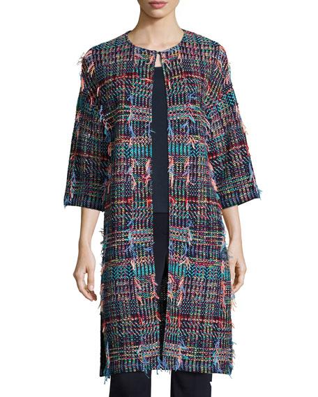 St. John Collection Dara Fringe Knit 3/4-Sleeve Topper
