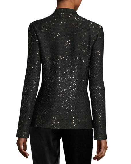 Pranay Sequined Knit Slim Jacket, Black