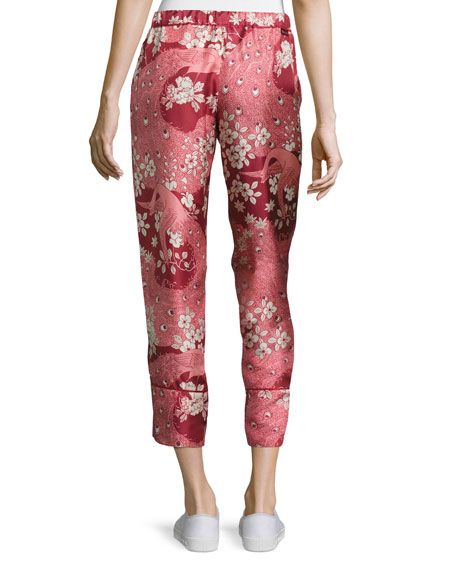 Cropped Floral Silk Satin Pants, Blush