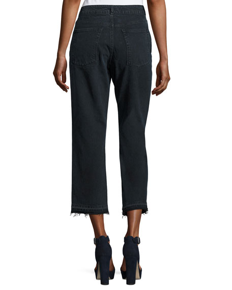 Patti High-Rise Cropped Straight-Leg Jeans with Released Hem, Fallen