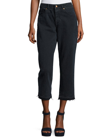 DL 1961 Patti High-Rise Cropped Straight-Leg Jeans with