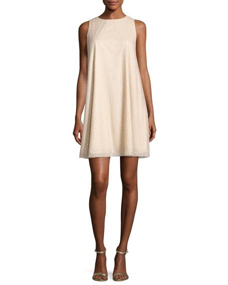 Sleeveless Beaded Swing Dress, White/Silver
