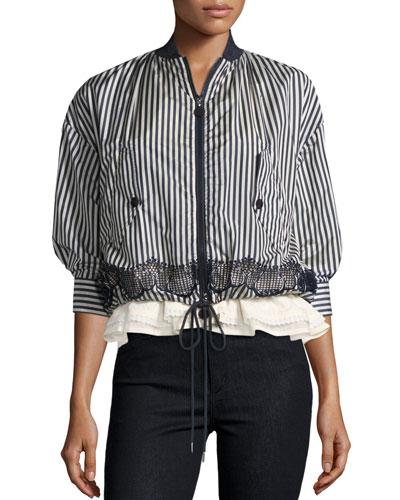 Istres Striped Embroidered Bomber Jacket