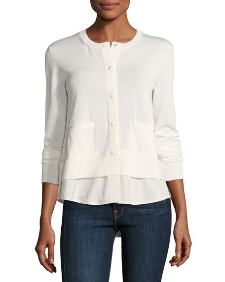 Moncler Chiffon-Trim Jersey Cardigan, White