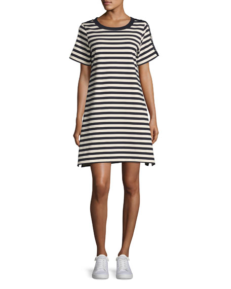 Short-Sleeve Striped Two-Tone Shift Dress, Cadet