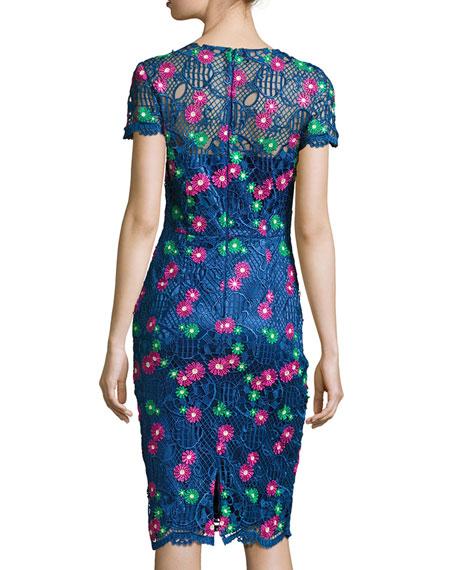 Venice Short-Sleeve Floral Lace Cocktail Dress, Blue/Multicolor