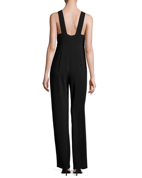 Anieska Elevate Crepe Sleeveless V-Neck Jumpsuit, Black