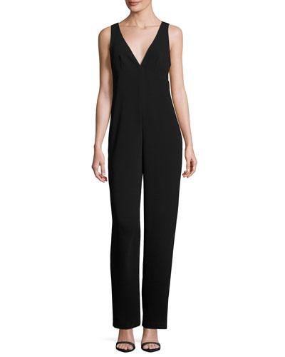 Anieska Elevate Crepe Sleeveless V-Neck Jumpsuit, Black