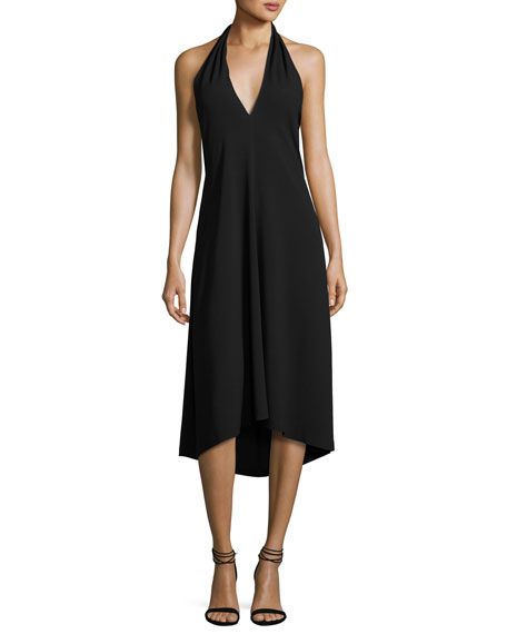 Theory Araci Rosina Crepe V-Neck Halter Midi Dress, Black | Neiman ...