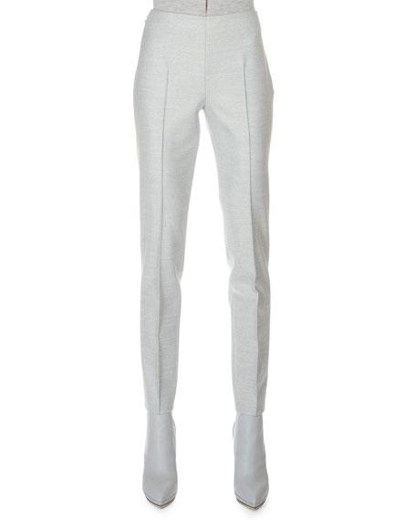 Akris Stretch Flannel Pleated Slim Pants, Gravel