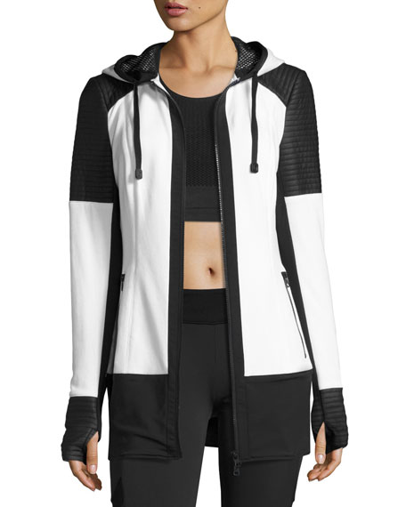 Nighthawk Quilted-Panel Long-Line Hoodie, White/Black