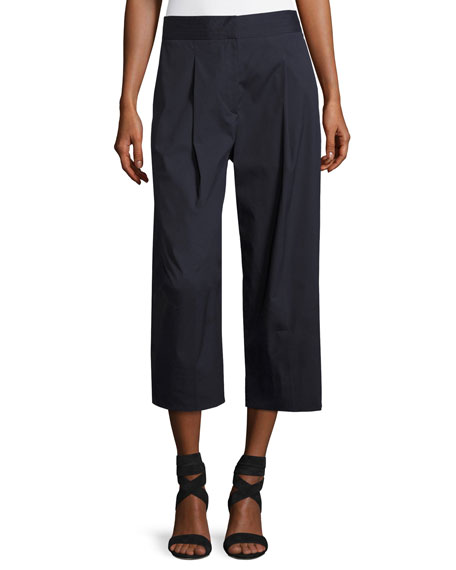 Salerno Wide-Leg Stretch-Cotton Ankle Pants, Navy
