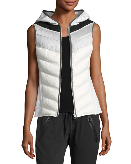Blanc Noir Packable Quilted Moto Vest with Hood,