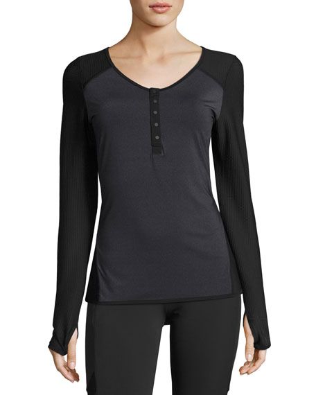 Blanc Noir Two-Tone Henley Performance Tee, Charcoal
